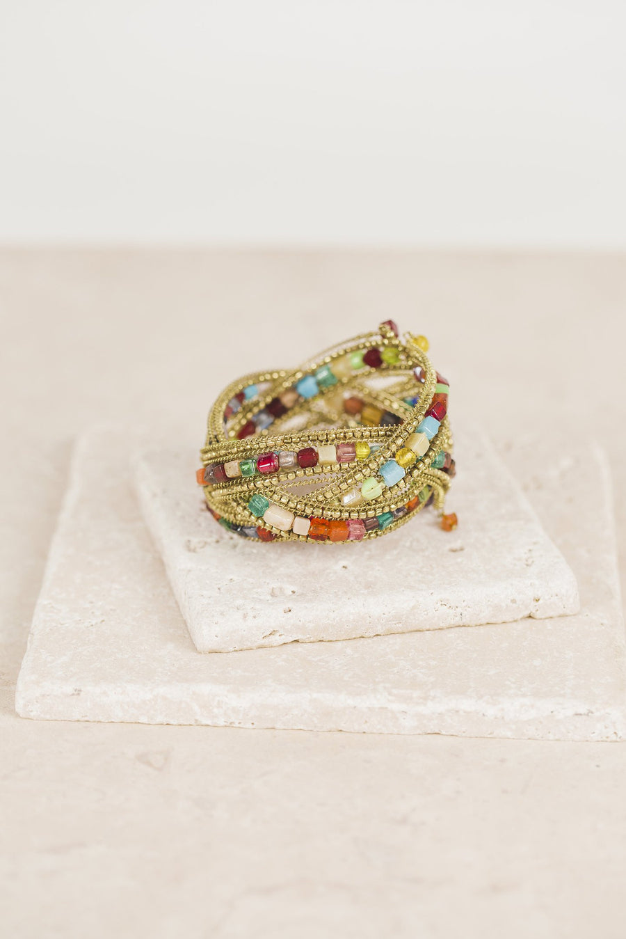 Handmade Gold Multi-color, Multi-layer Beaded Bracelet