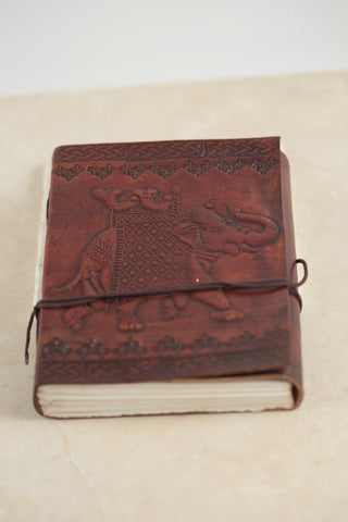 Mahogany Musk Leather Journal [with elephant]