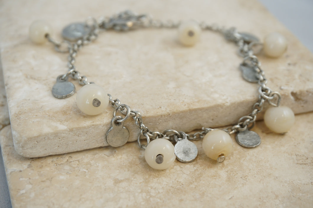 Roe Bead and Coin Bracelet