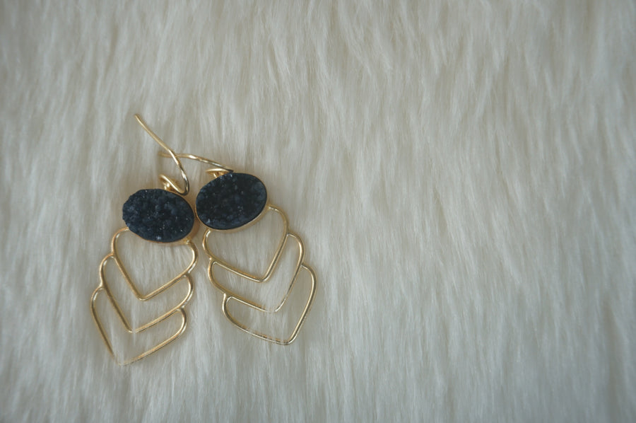 Azure Blue Leaf Earrings