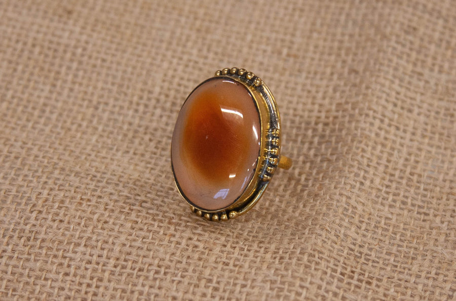 Rustic Amber Stone Ring