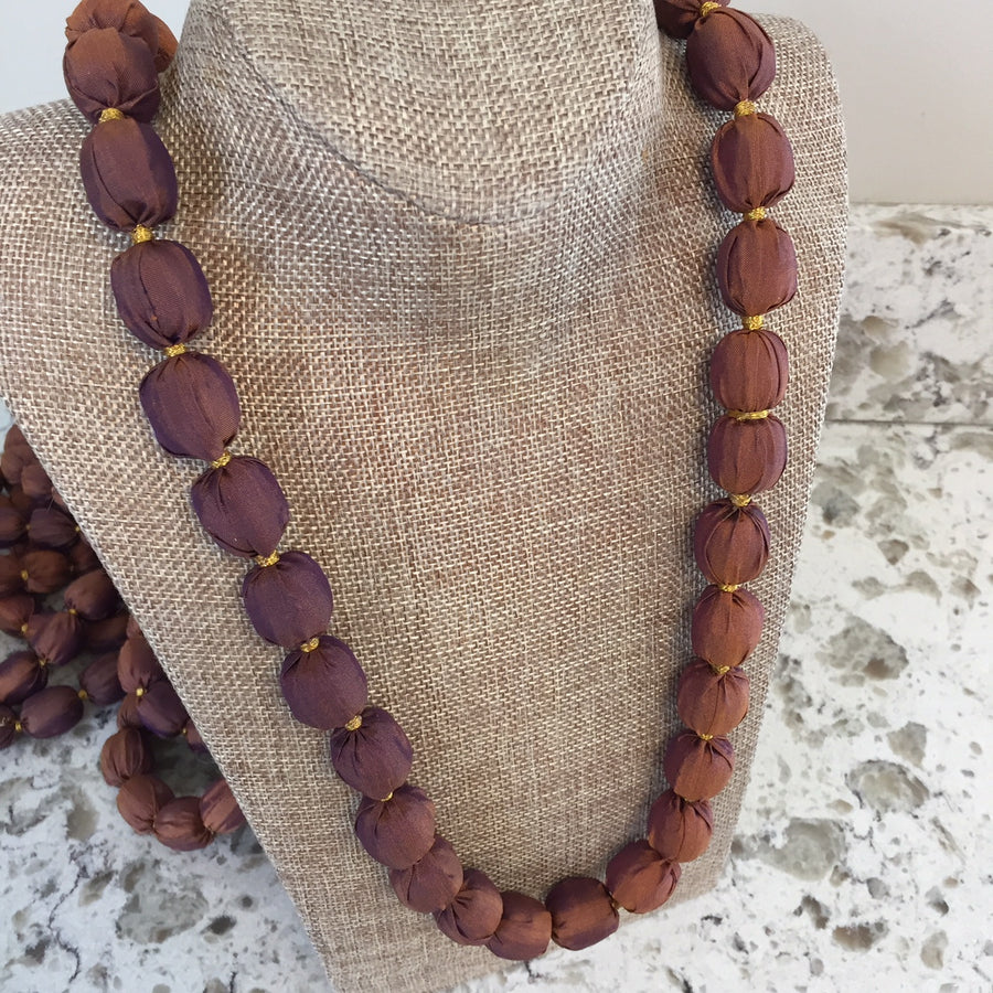 Brown Handmade Jubilee Necklaces Made From Sari Fabric