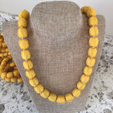 Yellow Handmade Jubilee Necklaces Made From Sari Fabric