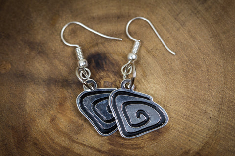 Ripple - Black and Chrome - Earrings