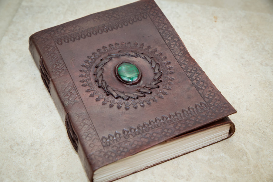 Rustic Voyageur Malachite Leather Journal