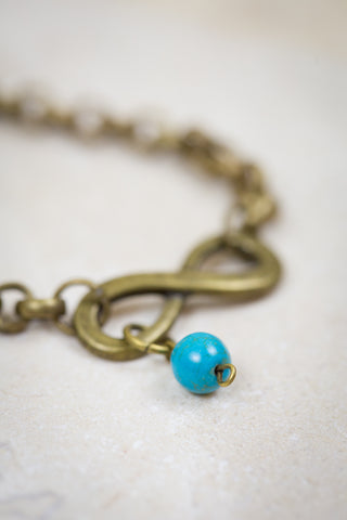 Infinity Sky Bracelet - Turquoise and Bronze