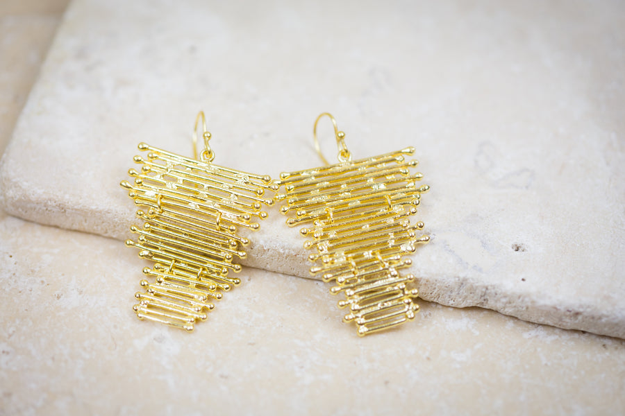 The Skipping Stone - Golden Waterfall Earrings