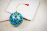 Handmade and hand painted decorative ornament blue black green