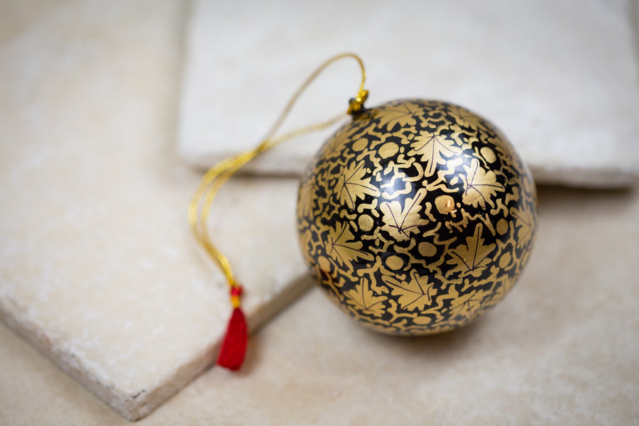 Painted Decorative Ornament Black Gold