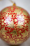 Handmade and hand painted decorative ornament red gold