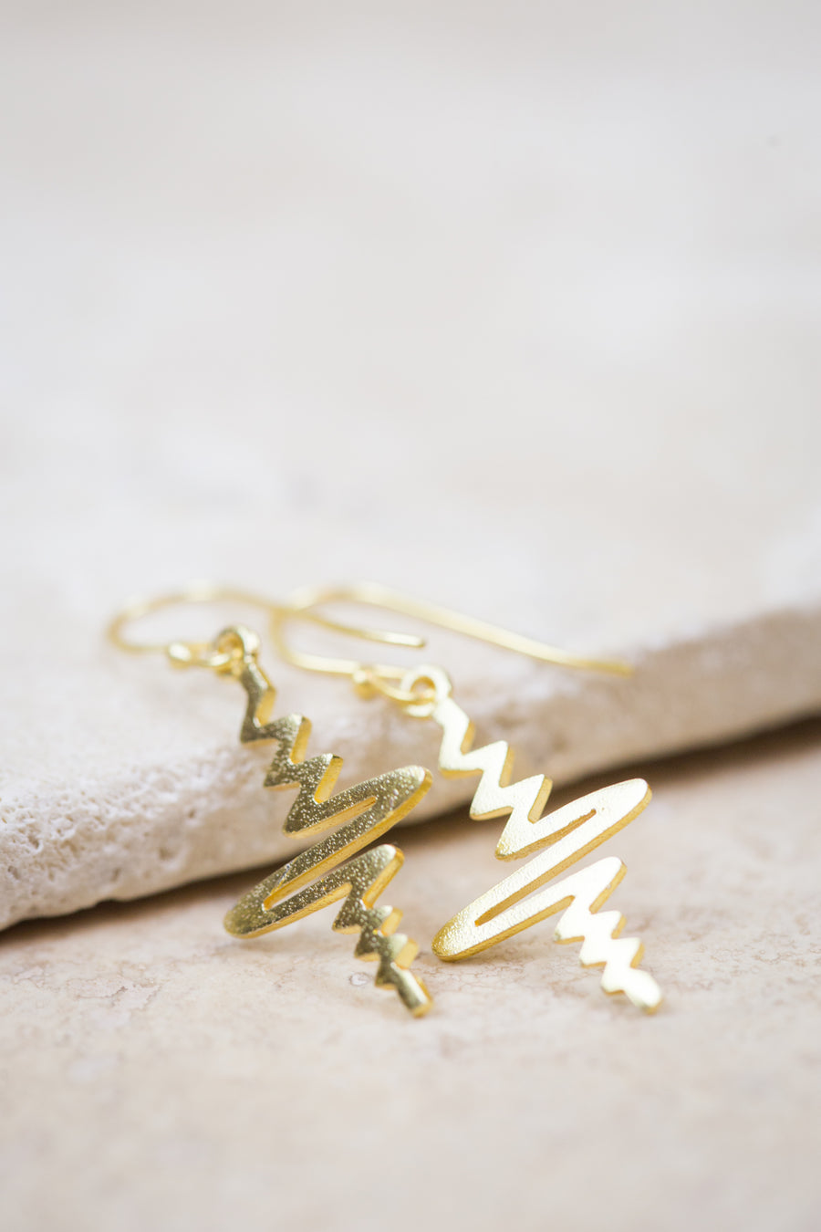 Gold Heartbeat Line Earrings