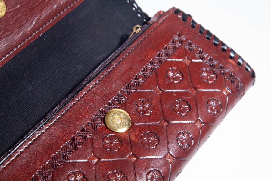 Handmade Women's Floral Leather Wallet Clasp