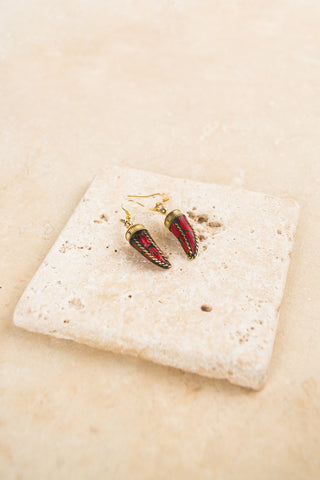 Handmade Red Chili Gold Dangle Earrings by The Skipping Stone