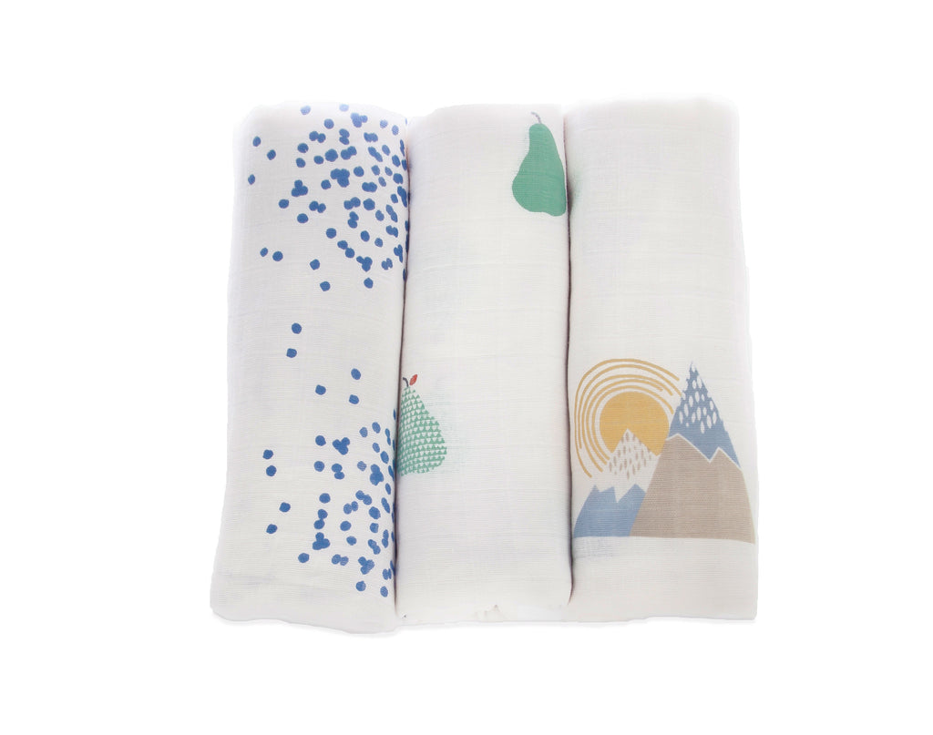 Dotty/Pears/Mountains - Muslin 3 pack