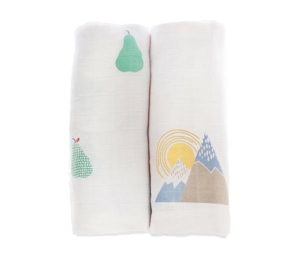 Pears/Mountains - Muslin 2 pack