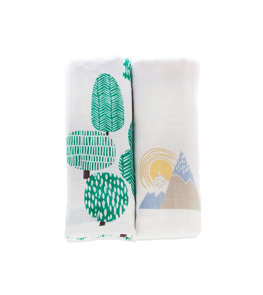 Wild Wood/Mountains - Muslin 2 pack