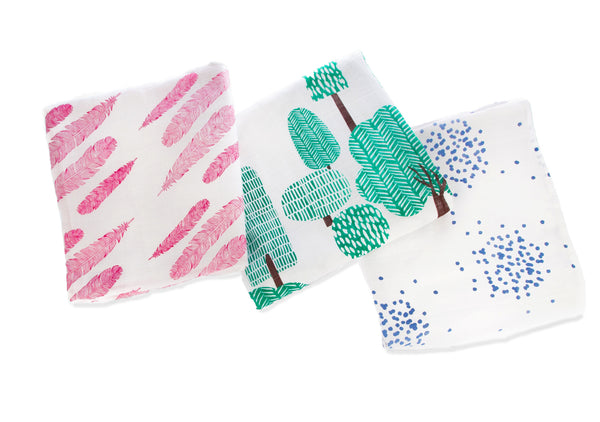Feathers/Wild Wood/Dotty - Muslin 3 pack