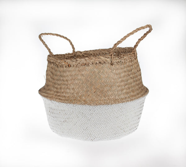 Medium size White-Dipped Seagrass Basket