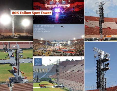 75' HEIGHT TALL FOLLOW SPOT TOWER (free standing) - Mega Stage