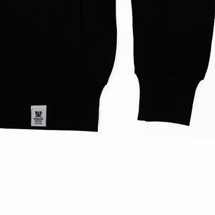 Embroidered Zip Up Hoody Black