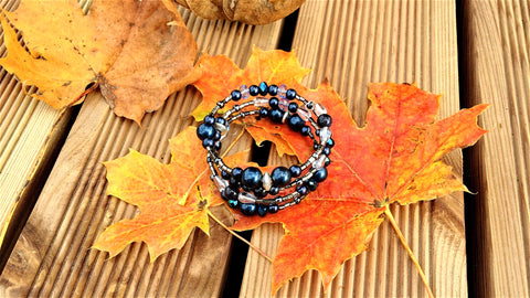Autumn Leaves and Memory Wire Bracelet