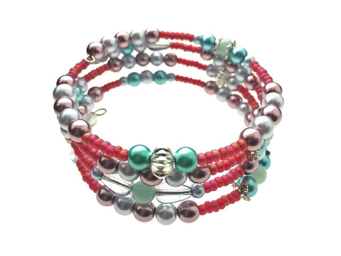 Amazonite and Glass Beads on Memory Wire - angled