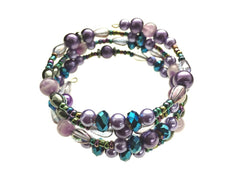 Amethyst, Hematite, and Glass Beads on Memory Wire - angled