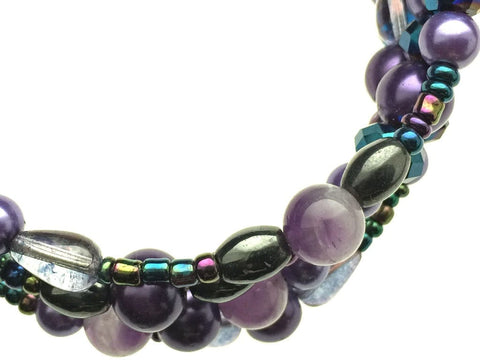 Amethyst, Hematite, and Glass Beads on Memory Wire - zoom