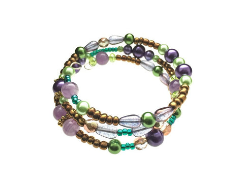 Amethyst and Glass Beads on Memory Wire - angled