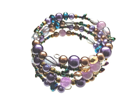 Amethyst with Glass Beads on Memory Wire - angled