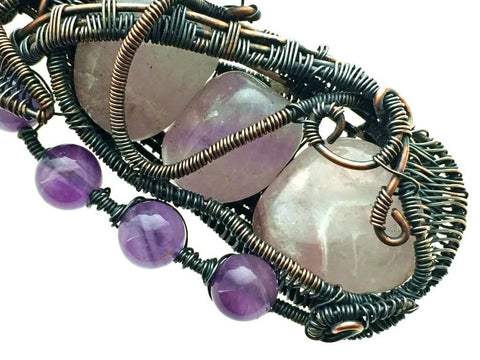 Amethysts Pendant in Antiqued Copper - angled right zoom