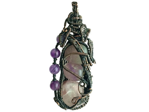 Amethysts Pendant in Antiqued Copper