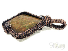 Ammolite Pendant in Antiqued Copper - side zoom