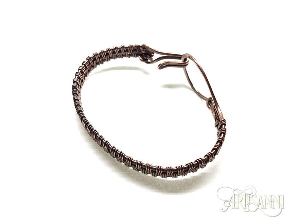 Antiqued Copper Bracelet with Hammered Loop