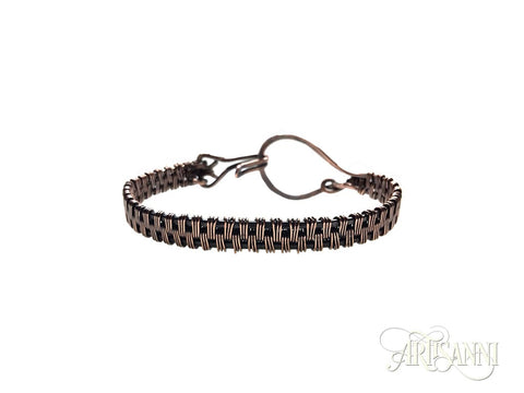 Antiqued Copper Bracelet with Hammered Loop - front