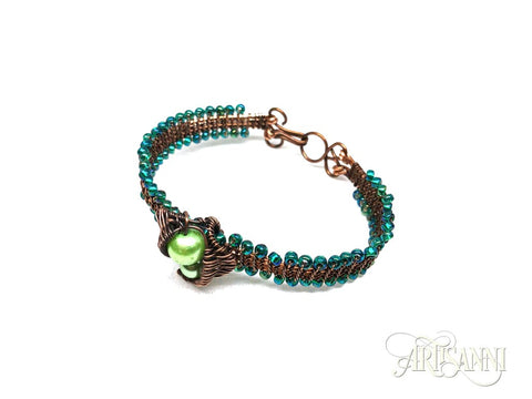 Antiqued Copper Bracelet with Leaves and Glass Beads