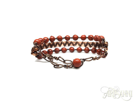 Antiqued Copper Bracelet with Red Jasper Beads - clasp