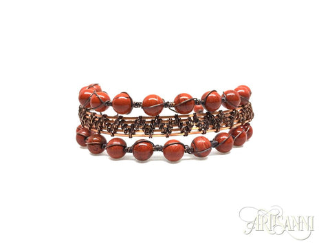 Antiqued Copper Bracelet with Red Jasper Beads - front