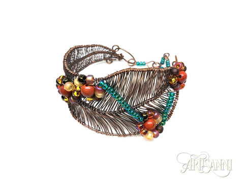Antiqued Copper Bracelet with Red Jasper and Glass Beads