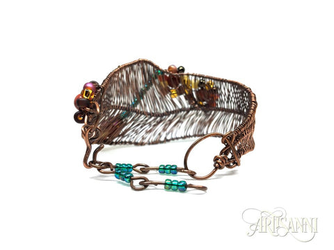 Antiqued Copper Bracelet with Red Jasper and Glass Beads - clasp