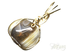 Banded Agate Pendant in Gilt and Sterling Silver - angled zoom