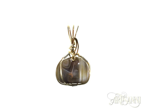 Banded Agate Pendant in Gilt and Sterling Silver