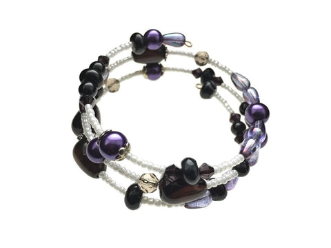 Black Agate and Glass Beads on Memory Wire - angled