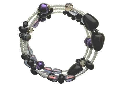 Black Agate and Glass Beads on Memory Wire