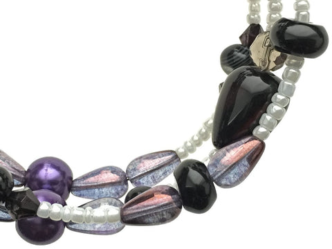 Black Agate and Glass Beads on Memory Wire - zoom