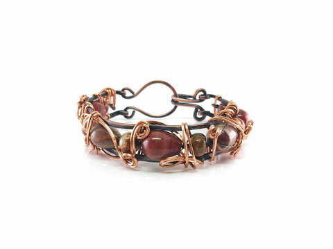 Copper Bangle with Agate Beads