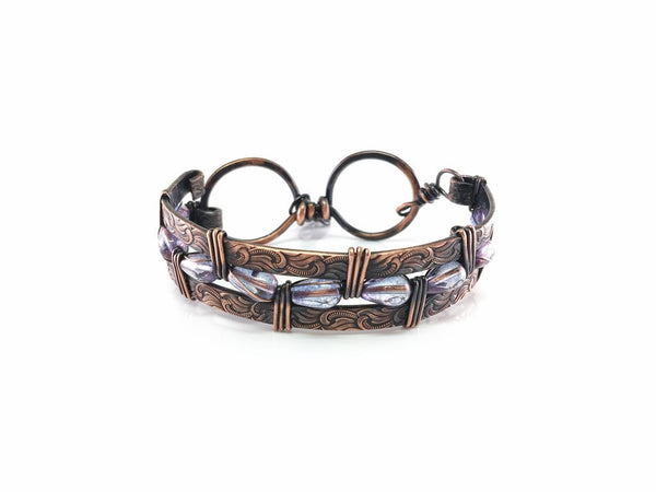Copper Bracelet with Glass Beads
