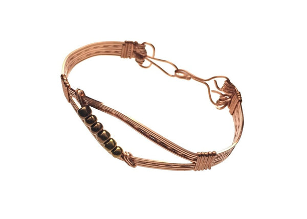 Copper Multi-Strand Bracelet with Glass Beads