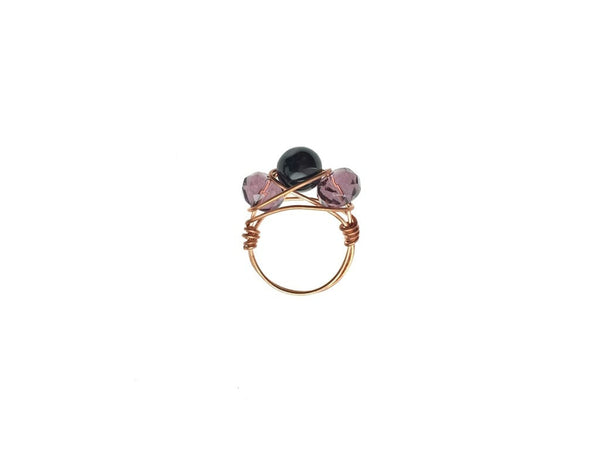 Copper Ring with Glass Beads