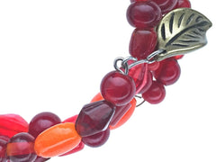 Glass Beads and Leaf Dangle on Memory Wire - zoom